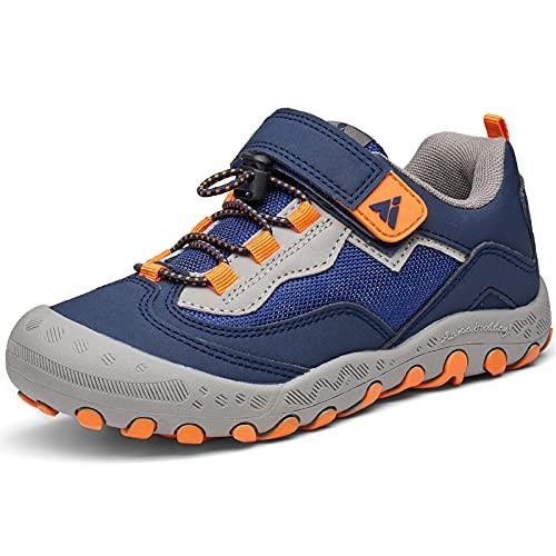 Mishansha Zapatos Niñas Zapatillas Senderismo Niños Bambas de Montaña Niña Calzado Trekking Transpirable Ligero Azul Naranja 26 EU