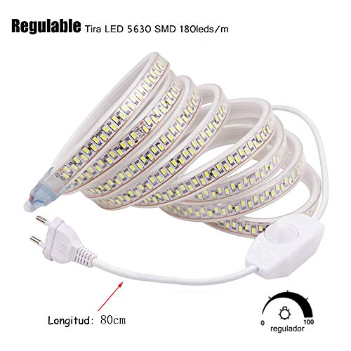 XUNATA 8m Regulable Tira LED, 5630 SMD 180leds/m, IP67 Impermeable, 220V Escalera de Techo Blancas Tira de LED Cocina Cable Luces Blanco calido