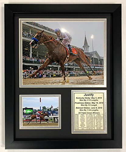 Legends Never Die Justify - 2018 Triple Crown Winner - Framed 12'x15' Double Matted Photos