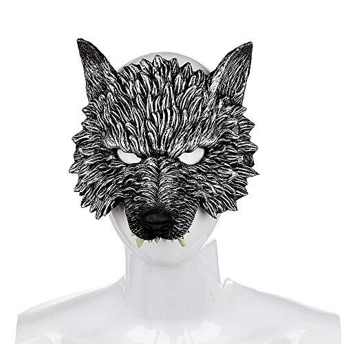 BaronHong Wolf Cosplay Halloween Creativo Realistico PU Copricapo Mezza Maschera (Nero, M)