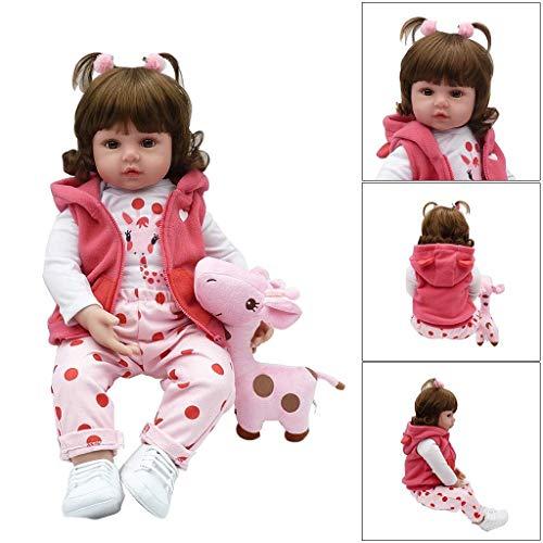 ZIYIUI Realista Muñeco bebe Reborn Niña pelo largo Vinilo Suave Silicona Reborn Baby Dolls Regalos para Niños Juguetes 19 Pulgadas 48 cm