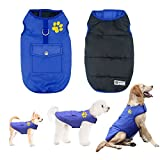Didog Winter Waterproof Dog Vest Coats Jackets,Warm Reversible Outwear for Small Medium Large Dogs,Blue,M Size
