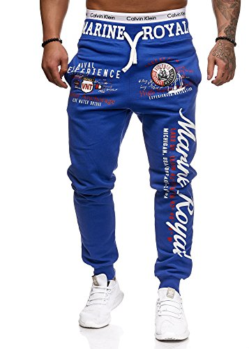 L.gonline Jogginghose Herren lang | Trainingshose Baumwolle | Sporthose mit Bündchen | Enger Beinabschluss | Marine 5258 (XXL, R.Blau)