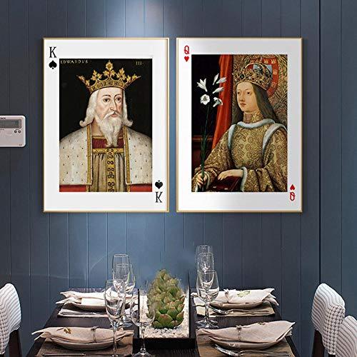 WTYBGDAN König und Königin Poker Wandkunst Leinwand Malerei Nordic Poster Moderne Mode Wandbild Für Wohnzimmer Schlafzimmer Wohnkultur | 40x60cmx2Pcs / ohne Rahmen
