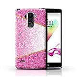 Hülle Für LG G4 Stylus Glitter Muster Effekt Rosa Geometrisch Design Transparent Ultra Dünn Klar Hart Schutz Handyhülle Case