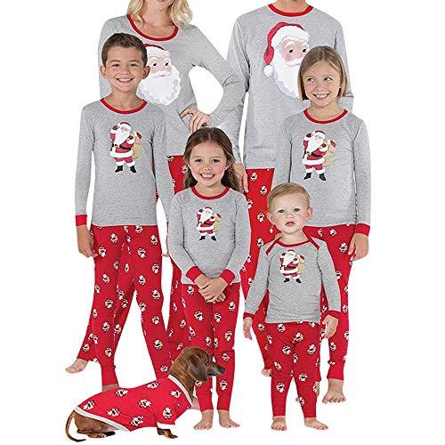 Fossen Navidad Ropa Familiar Pijamas de Dos Piezas Santa Claus Tops + Pantalones para Mujer Hombre Niños