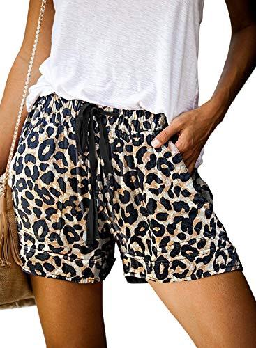 Uusollecy Women's Casual Shorts Drawstring Elastic Waist Shorts Summer Beach Short Pants with Pockets