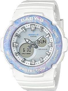 ساعة انالوج بعقارب ورقمية بسوار راتنج للنساء من كاسيو Baby-G - ابيض