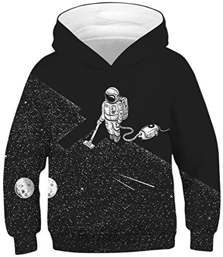 Ocean Plus Jungen Kapuzenpullover Bunt Teens Hoodie Kinder Langarm Pulli mit Kapuzen Sweatshirt Pullover (L (Körpergröße: 145-150cm), Vakuum Astronaut)