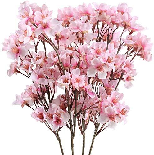 XIHEJD Künstliche Blumen Fake Flowers Bouquet Garland 4Pcs Artificial Cherry Blossom Blumen Silk Sakura Zweige gefälschte Blumenarrangements for Heimzimmer Hochzeitsdekoration (Pink) (Farbe : Pink 1)
