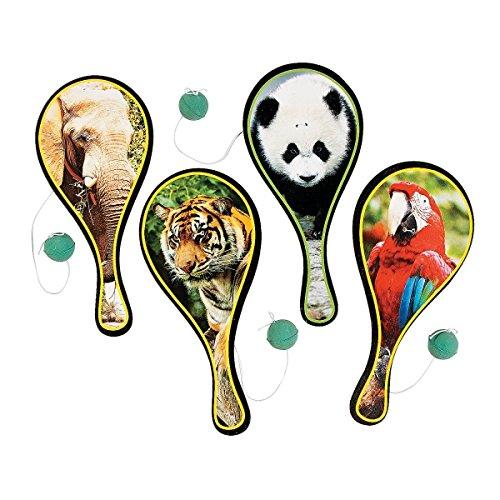 Elfen und Zwerge 6 x Tier Zoo Ballspiel Spiel Geschicklichkeitsspiel Paddleball Tiere Mitgebsel Giveaway