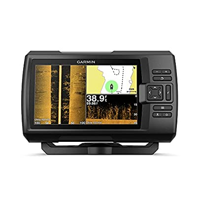 """Garmin Striker 7SV with Transducer, 7"""" GPS Fishfinder with Chirp Traditional, ClearVu and SideVu Scanning Sonar Transducer and Built in Quickdraw Contours Mapping Software, 7 inches (010-01874-00)"""