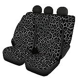 UOIMAG Fundas de asiento de auto con estampado de leopardo negro para hombres y mujeres, accesorios universales para asientos delanteros y traseros