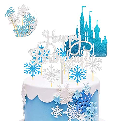 SUNSK Tortendeko Schneeflocke Kuchen Topper Glitter Tortendeko Frozen Schloss Blau Silber Happy Birthday Cake Topper Geburtstag Party Dekoration 42 Stück