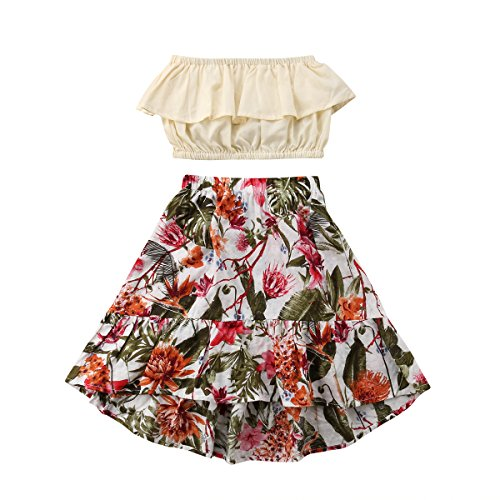2Pcs Kids Baby Toddler Girl Sunflower Outfits Off Shoulder Crop Tops + Skirt Clothes Set (4-5 Years, Floral)