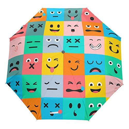 Bunter niedlicher Emoji Auto Regenschirm offen schließen winddichter lustiger Reiseschirm Leichter kompakter Sonnenschirm Sonnenschirm & Regen