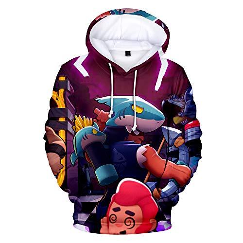 SHIXUE Sudadera con Capucha Brawl Stars Estampado 3D Capucha De Manga Larga Camisa De Entrenamiento Diseño Creativo Gráfico Espesor Estándar Regalos De Otoño E Invierno,XL