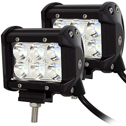 Willpower 2pc Led Arbeitsscheinwerfer 10 cm 18W LED Scheinwerfer 12V 24V Zusatzscheinwerfer 6000K Wasserdicht Rückfahrscheinwerfer für Auto Traktor Offroad SUV UTV ATV