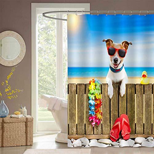 N\A Perro divertido para Niños Disfrute de Las Vacaciones de Verano Cortina de baño, Perro Jack Russel Relajándose en Una valla de Madera, Gafas de sol, Juego de baño de Tela de poliéster con ganchos