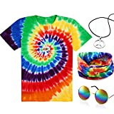 4 Pieces Hippie Costume Set, Include Colorful Tie-Dye T-Shirt, Peace Sign Necklace, Headband and Sunglasses for Theme Parties (XS, Rainbow)