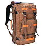 WITZMAN Canvas Backpack Vintage Travel Backpack Large Laptop Bags Convertible Shoulder Rucksack A519 (22 inch brown)
