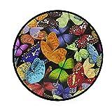 W-WEE Tappeto Tondo - Tappeti Rotondi Lavabili a Forma di Farfalla con Insetti Colorati per Soggiorno Camera da Letto