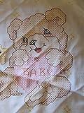 Teddy Bear with Green Trim Stamped Cross Stitch Baby Bib