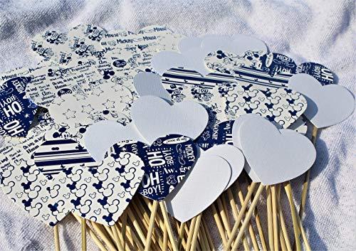 Herzstecker/Steckherzenalierh/Spalier/Sperzen Hochzeit Geburtstag Mickey M blue Kollektion 50 Stück...