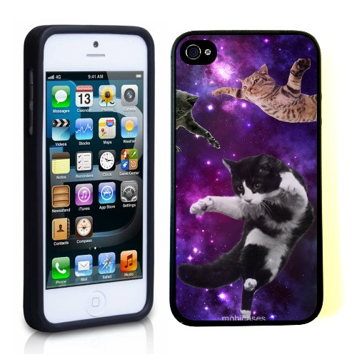 Hipster Flying Cats Space - Protective Designer BLACK Case - Fits Apple iPhone 5 / 5S