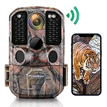 WiFi Trail Camera Usogood 24MP 1296P Game Cameras with IR Night Vision Motion Activated Waterproof Hunting Cam Wireless for Audio Live Feed Outdoor Wildlife Monitoring Send Picture to Cell Phone