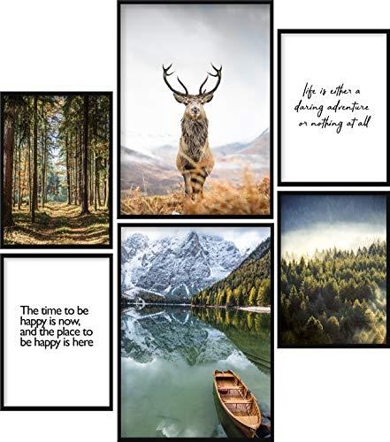Calias® Premium Poster Set Natur | Bilder Set für Wohnzimmer Deko oder Schlafzimmer Deko | Stilvolle Wanddeko | 6er Set ohne Rahmen | 2X DIN A3 und 4X DIN A4