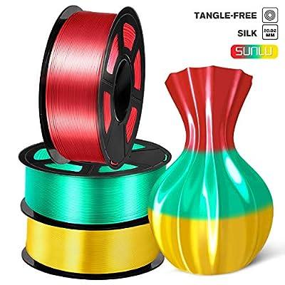SUNLU PLA Silk 3D Printer Filament, 1.75 PLA Filament Red, Yellow, Green, 3KG 6.6LBS Spool Shiny Metallic, Silk PLA Filament
