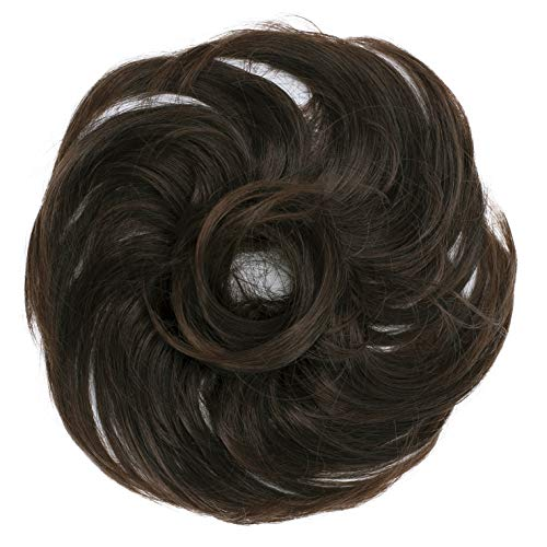 PRETTYSHOP Scrunchie Bun Up Do Hair piece Hair Ribbon Ponytail Extensions Wavy Curly or Messy Various Colors(brown mix 4T30)