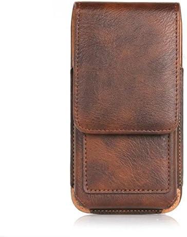Jlyifan PU Leather Vertical Executive Belt Clip Holster Pouch Case for iPhone X/iPhone 8 / Motorola Moto E4 / G5 / Google Pixel 2 / BLU Studio J2 / Pro/Samsung Galaxy J3 (Brown)