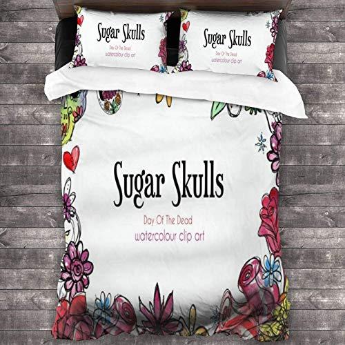 Juego de ropa de cama de 3 piezas, diseño de flores de azúcar y calaveras, 218 x 177 cm, colcha cálida y juego de edredón con 2 fundas de almohada cuadradas brillantes para casa de huéspedes de niños