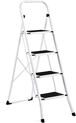 ACKO Folding 4 Step Ladder with Convenient Handgrip Anti-Slip Sturdy and Wide Pedal 330lbs Portable Steel Step Stool White and Black 4-Feet