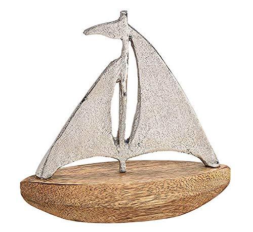 osters muschel-sammler-shop Metall Aufsteller Mangoholz ┼ Anker oder Segel-Boot/Schiff ┼ Maritime Deko für Haus und Bad (Schiff)