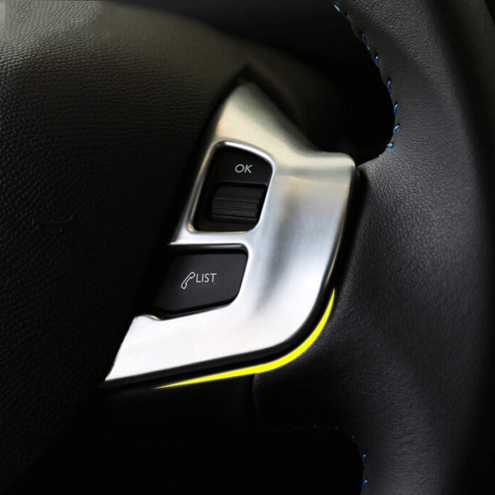 VXAOHONG Bouton Couvre volant Garniture Autocollants Logo Emblem Badge Chrome D/écoration Accessoires for Peugeot 2008 208 GTI 2014 2015 2016 2017 2018 Coiffage de voiture