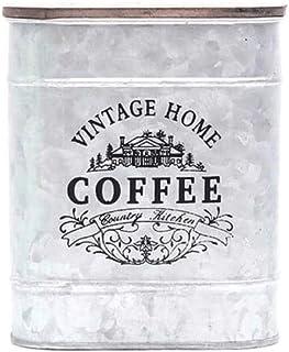 AWAING Bocaux Métal place Bonbons Trinket Tin Vintage Boîte de rangement avec des boîtes de café bois plastifié thé Assais...
