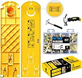 Pin-Up-Tools Super Picture Hanging Kit with 225 Pieces Accessories Tool + Easy Level Frame Ruler Multifunction Picture Hanger with Two Different Types of Hammers & Easy Picture Hanging Hardware