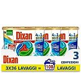 dixan discs pulito & igiene detersivo lavatrice predosato in capsule 4 in 1, 3x36-108 lavaggi - 2700 g