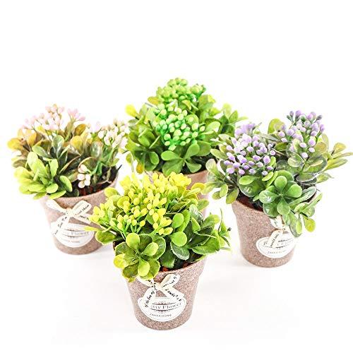 4 piezas pequeñas plantas artificiales mini baya en maceta bonsái planta verde