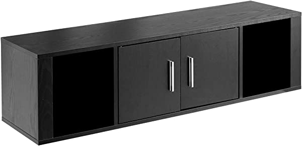 Giantex 2 Cube Wall Mounted Floating Media Storage Cabinet Hanging Desk 2 Door Floating Console Hutch Home Office Furniture Black