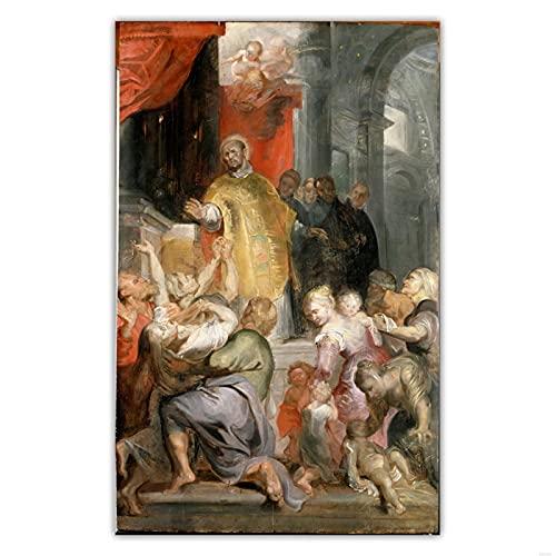QQWER Peter Paul Rubens 《Le Miracle De Saint Ignace De Loyola》 Peinture sur Toile Image Murale Art Prints Décor À La Maison -60X90Cmx1Pcs-Sans Cadre