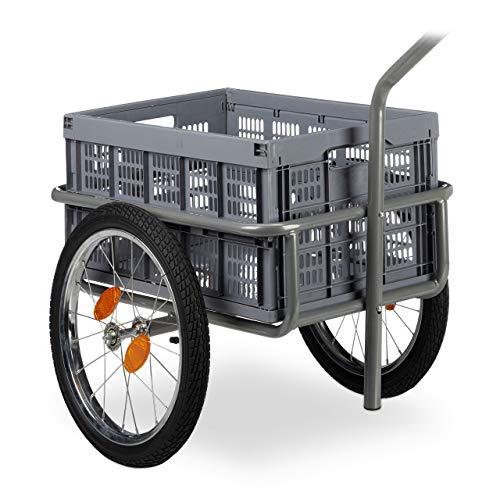 Relaxdays Lastenanhänger, 2in1 Fahrradanhänger & Handwagen, faltbare Transportbox, mit Kugelkupplung, bis 50kg, grau