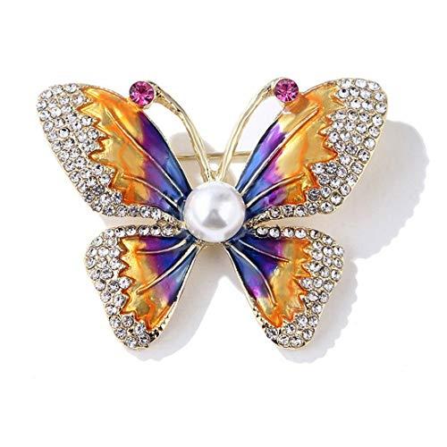 Swiftswan Schöne Legierung Schmetterling Form Brosche galvanisiert Strass Schmetterling Brosche Kleid Dekoration Geschenk für Frauen