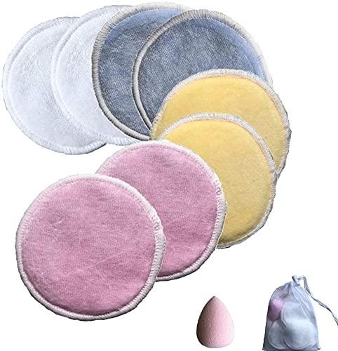 KJDSE - Almohadillas desmaquillantes de fibra de bambú, discos desmaquillantes lavables y reutilizables de terciopelo + fibra para todos los tipos de piel