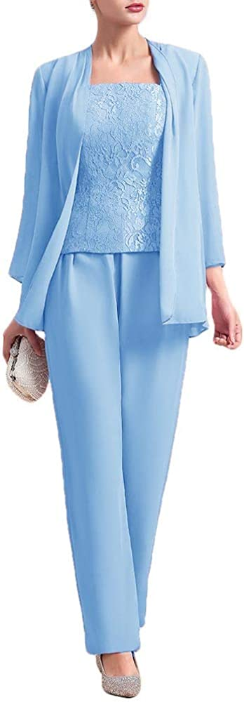 CY Mother of The Bride Dresses Jacket Pant Suit Long Sleeve Wedding Party Guest 3 Pieces