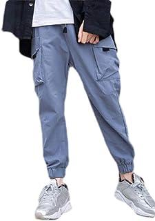 Pandapang Mens Elastic Waist Pocket Drawstring Fashion Contrast Color Jogger Pants