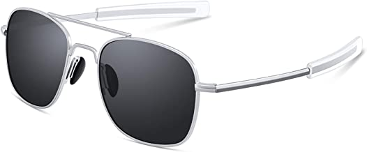 Mens Aviator Sunglasses 53mm TAC Polarized Lense Military Style Metal Frame with Bayonet Temples
